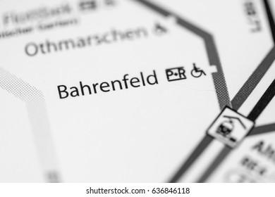 Bahrenfeld Station. Hamburg Metro map.