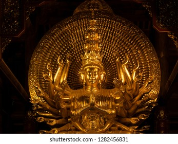 Bai Dinh, Vietnam - January 4, 2019: Goldened bronze buddha in Bai Dinh Temple Spiritual and Cultural Complex in Ninh Bình Province, Vietnam.