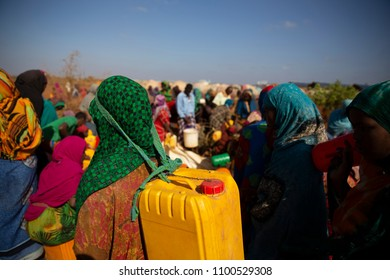 Baidoa / Somalia - March 2017 -  Women living in refugee camps due to drought are waiting for water distribution.
