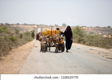 Baidoa / Somalia - March 2017 - The women who carry water and goiong back town with her water want and donkey