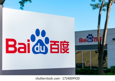 Baidu logo at Silicon Valley HQ. Baidu, Inc. is a Chinese multinational technology company specializing in Internet-related services, products and artificial intelligence - Sunnyvale, CA, USA - 2020