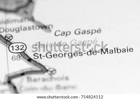 Gaspe Canada Map.Baie De Gaspe Canada On Map Stock Photo Edit Now 754824112