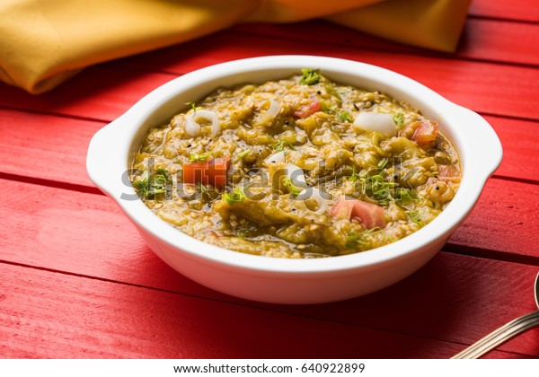 Baigan Bharta Hindi Vangyache Bharit Marathi Stock Photo (Edit Now