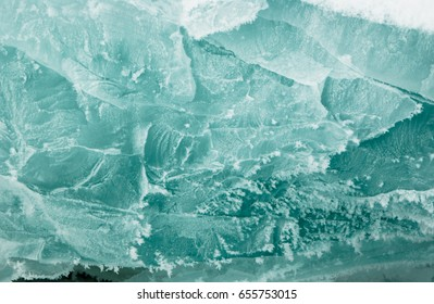 Baikal ice texture with frost and fractures