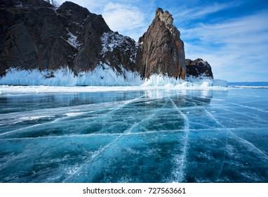 Baikal Lake. The famous natural landmark Deva Rock (Virgin Rock) at Cape Khoboy on the northern tip of Olkhon Island