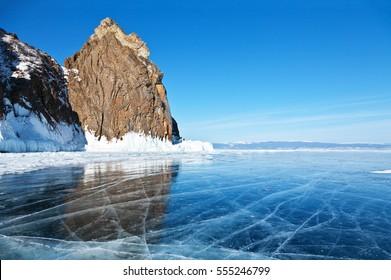 Baikal Lake. Olkhon Island. The famous natural landmark Deva Rock (Virgin Rock) at the northern Cape Khoboy