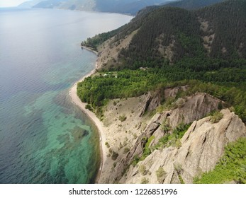 Baikal lake Siberia Russia from the air