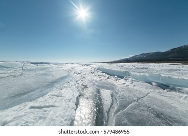 Baikal lake in winter.