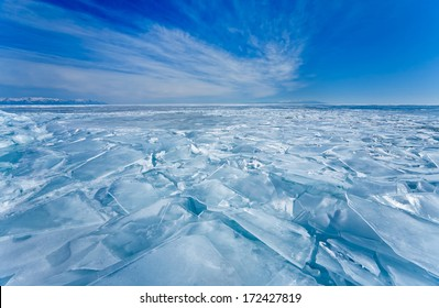 Baikal Lake in winter. Field of hummocked ice