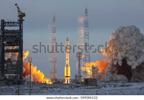 BAIKONUR, KAZAKHSTAN - 11 December 2011 Launch of a Proton M rocket