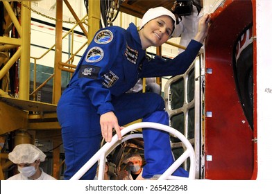 BAIKONUR, KAZAKHSTAN - NOVEMBER 19, 2014:  ISS Expedition 42-43 crewmember Samantha Cristoforetti before getting into the Russian Soyuz TMA-15M spacecraft for the fit check at Baikonur Cosmodrome