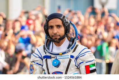 Baikonur, Kazakhstan - september 25, 2019: Crew of the space manned spacecraft Soyuz MC-15, astronaut  Hazza Ali Al Mansouri from United Arab Emirates.
