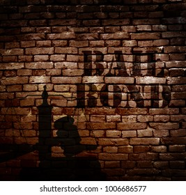 Bail Bond text on a brick wall, with gavel and scale