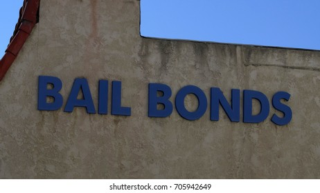 BAIL BONDS SIGNAGE.  Generic exterior sign on the outside of a building.