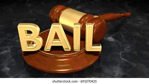 Bail Legal Gavel Concept 3D Illustration