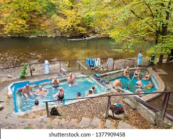 Baile Herculane, Romania - November 15, 2017:  The outdoor thermal baths in Domogled National Park, Baile Herculane, Romania