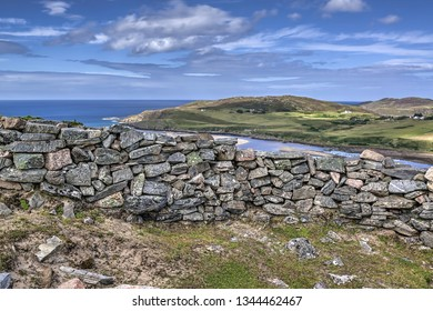 Baile Mhargaite broch (site of ruins) overlooking Torrisdale Bay, the River Naver and Bettyhill