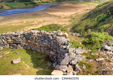 Baile Mhargaite broch (site of ruins) overlooking the River Naver and Bettyhill