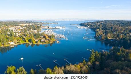 Bainbridge Island Harbor Panoramic View Winslow Washington Beautiful Sunny Day Landscape
