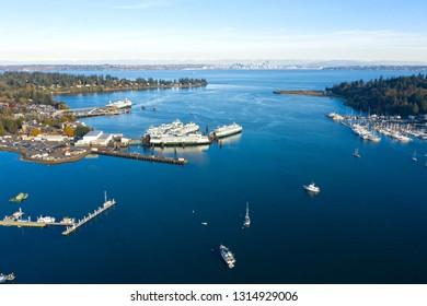 Bainbridge Island Winslow Waterfront Eagle Harbor Drone Aerial View Seattle Washington Skyline Sunny Day