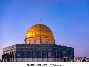 """BAITULMUQADDIS, PALESTINE - 13TH NOV 2017; Dome of the Rock Islamic Mosque Temple Mount, Jerusalem. Built in 691, where Prophet Mohamed ascended to heaven on an angel in his """"night journey""""."""