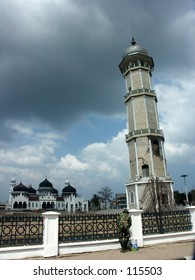 Baiturrahman Mosque (the Acehnese landmark)  after Tsunami in Aceh Indonesia