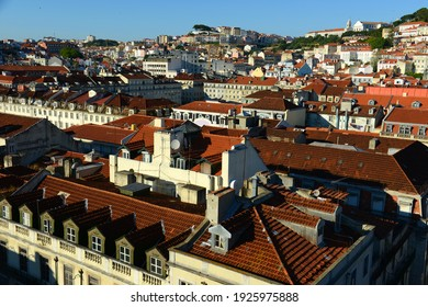 Baixa district of Lisbon, from top of Santa Justa Lift (Elevator de Santa Justa) in city of Lisbon, Portugal.