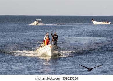 Baja California, Mexico-March 24, 2015: Mexican Fishermen at Sea
