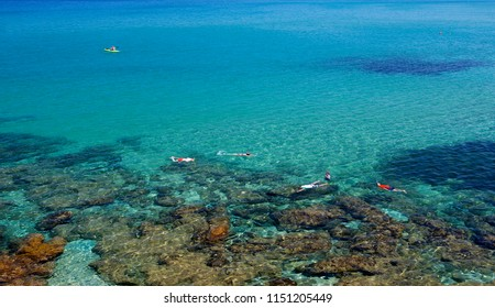 BAJA SARDINIA, ITALY - july 2, 2016: A view of the coast of Baja Sardinia in the famous Costa Smeralda, in Sardinia, Italy