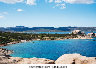 BAJA SARDINIA, ITALY - SEPTEMBER 21, 2017: A view of the coast of Baja Sardinia in the famous Costa Smeralda, in Sardinia, Italy