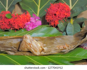 Bajang home made food, Chinese glutinous rice dumplings or zongzi on green leaf background.