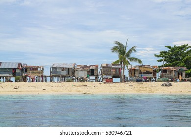 Bajau Laut or Sea Gypsy house in small Island of Gusungan island,Semporna,Sabah,Borneo.This island is unique as most parts of it are flat sandy grounds & with white sandy beaches surrounding it.