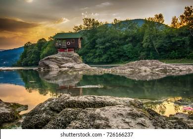 Bajina Basta, Serbia July 31, 2017: Lonely house on the river Drina in Bajina Basta, Serbia