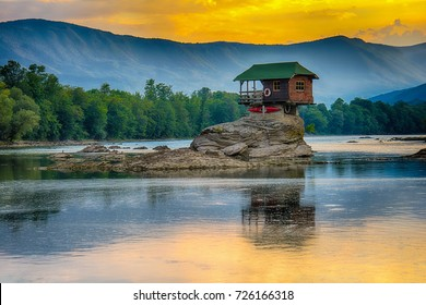 Bajina Basta, Serbia July 31, 2017: Lonely house on the river Drina in Bajina Basta, Serbia