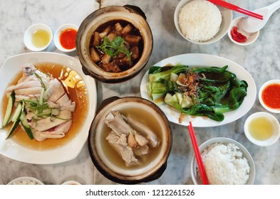 bak kut teh , hainanese chicken and Chinese Kale with Oyster Sauce