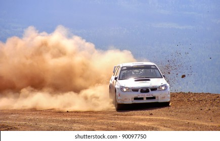 BAKAL, RUSSIA - AUGUST 3: Evgeniy Sapogov's Subaru Impreza (No. 18) competes at the annual Rally Southern Ural on August 3, 2007 in Bakal, Satka district, Chelyabinsk region, Russia.