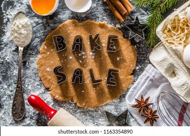 Bake sake christmas background with ingredients and utencils, copy space