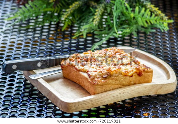 Bake Toast Topped Tuna Cheddar Cheese Stock Photo (Edit Now