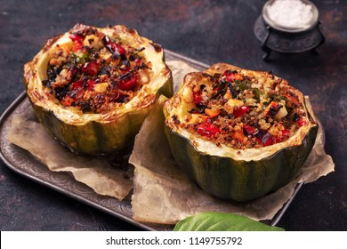 Baked acorn squash stuffed  with quinoa and vegetables