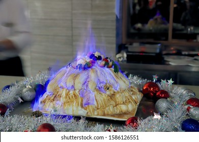 Baked Alaska in blue flame