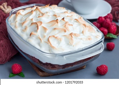 Baked Alaska with chocolate sponge cake, raspberry ice cream and meringues, in a glass baking dish, horizontal