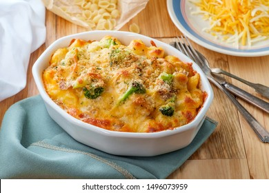 Baked American tuna fish casserole with broccoli and cheese