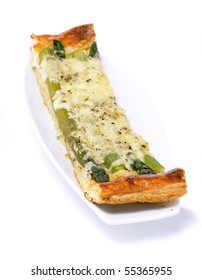 Baked asparagus and cheese tart slice