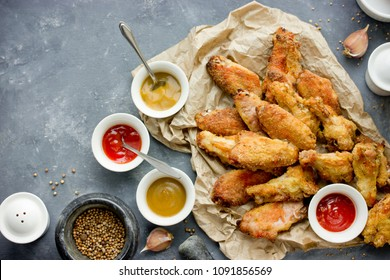 Baked bbq chicken wings with crispy skin top view