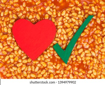 Baked beans background & healthy food concept - with right choice for a healthy heart, love for beans and a good diet - plenty of design space.