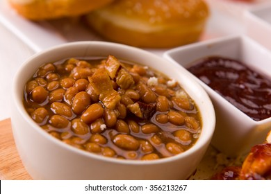 Baked Beans with Bacon Close Up