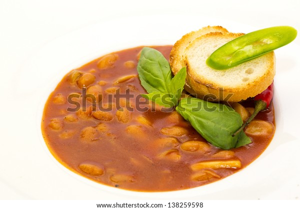 baked beans in a restaurant decorated with croutons