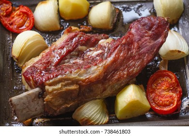 Baked beef brisket with vegetables for cooking red broth