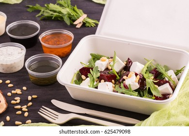 The baked beet and cheese salad, is served with olive oil
