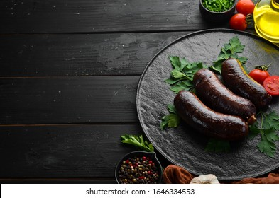 Baked blood sausage. Buckwheat sausage. Top view. Free space for your text.